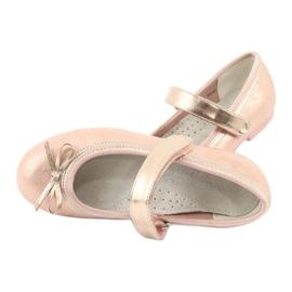 Golden Rose Ballerina's met de boog van American Club GC02 roze goud 5