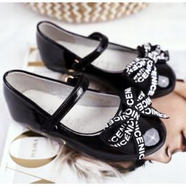 S.Barski Zwarte ballerina's voor kinderen op Barski Mindi klittenband 1