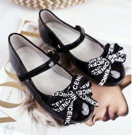 S.Barski Zwarte ballerina's voor kinderen op Barski Mindi klittenband 2