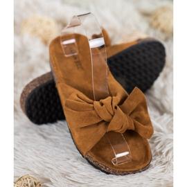 SHELOVET Suede-slippers met strik bruin 2