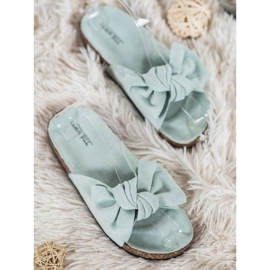 SHELOVET Suede-slippers met strik groen 1