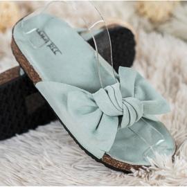 SHELOVET Suede-slippers met strik groen 3