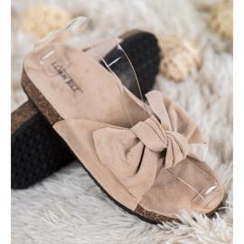 SHELOVET Suede-slippers met strik bruin 1