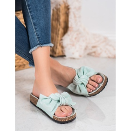 SHELOVET Suede-slippers met strik groen 4