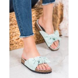 SHELOVET Suede-slippers met strik groen 5