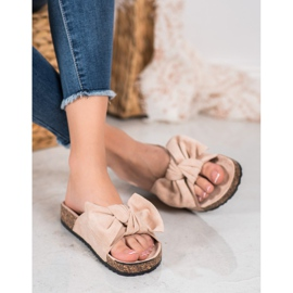 SHELOVET Suede-slippers met strik bruin 3