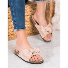SHELOVET Suede-slippers met strik bruin 4