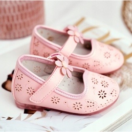 Apawwa Kinder Flats Velcro Bloem Roze Flored 3