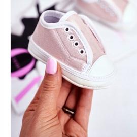 Apawwa Baby klittenband sneakers met glitter doop roze Milley 1