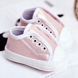 Apawwa Baby klittenband sneakers met glitter doop roze Milley 2