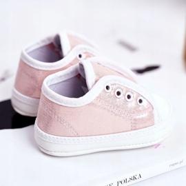 Apawwa Baby klittenband sneakers met glitter doop roze Milley 4