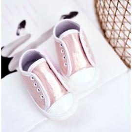 Apawwa Baby klittenband sneakers met glitter doop roze Milley 3