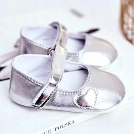 Apawwa Baptism Baby Velcro Sneakers Bellawa Zilver grijs 2