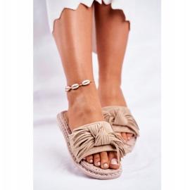 SEA Dames Pantoffels Met Strik Beige Thailand bruin 2