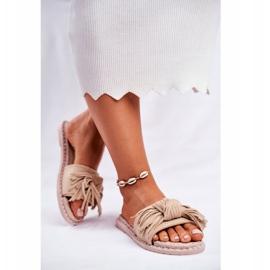 SEA Dames Pantoffels Met Strik Beige Thailand bruin 4