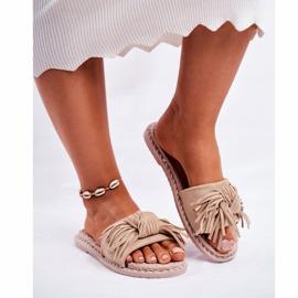 SEA Dames Pantoffels Met Strik Beige Thailand bruin 3