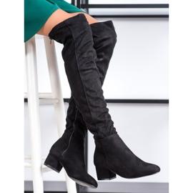 Fashion Zwarte dij-hoge laarzen 1