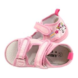 American Club Amerikaanse TEN38/20 sandalen pantoffels, leren inzet roze 4