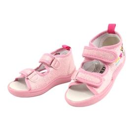 American Club Amerikaanse TEN38/20 sandalen pantoffels, leren inzet roze 2