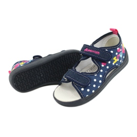 American Club Pantoffels, sandalen, Amerikaanse kinderschoenen, leren binnenzool marineblauw roze 3