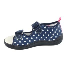 American Club Pantoffels, sandalen, Amerikaanse kinderschoenen, leren binnenzool marineblauw roze 1