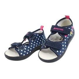 American Club Pantoffels, sandalen, Amerikaanse kinderschoenen, leren binnenzool marineblauw roze 2