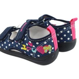 American Club Pantoffels, sandalen, Amerikaanse kinderschoenen, leren binnenzool marineblauw roze 5