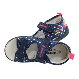 American Club Pantoffels, sandalen, Amerikaanse kinderschoenen, leren binnenzool marineblauw roze 4