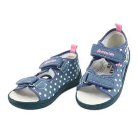 American Club Pantoffels, sandalen, Amerikaanse kinderschoenen, leren binnenzool wit blauw roze 2