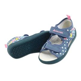 American Club Pantoffels, sandalen, Amerikaanse kinderschoenen, leren binnenzool wit blauw roze 3