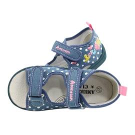 American Club Pantoffels, sandalen, Amerikaanse kinderschoenen, leren binnenzool wit blauw roze 4
