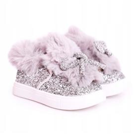 FRROCK Grijze Mumi grijze warme kindersneakers zilver grijs 4
