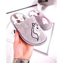 Grijze eenhoornpantoffels voor kinderen met eenhoorn roze zilver grijs 3