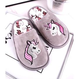 Grijze eenhoornpantoffels voor kinderen met eenhoorn roze zilver grijs 1