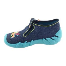 Befado kinderschoenen 110P408 marineblauw blauw groente geel 2