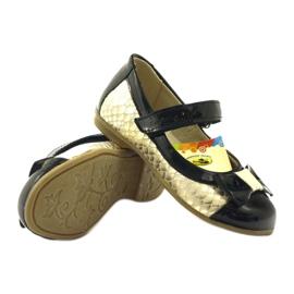 Ren But Ballerinas zwart en goud lederen strik Ren geel 3