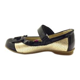Ren But Ballerinas zwart en goud lederen strik Ren geel 2
