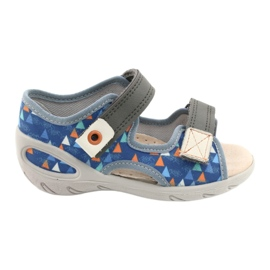 Befado kinderschoenen pu 065P158 blauw grijs 1