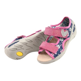 Befado kinderschoenen pu 065X151 marineblauw roze zilver 2