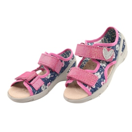 Befado kinderschoenen pu 065P151 marineblauw roze 2