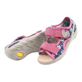 Befado kinderschoenen pu 065P151 marineblauw roze 3