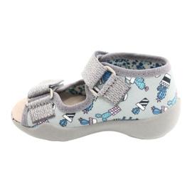 Befado gele kinderschoenen 342P025 blauw zilver grijs 1