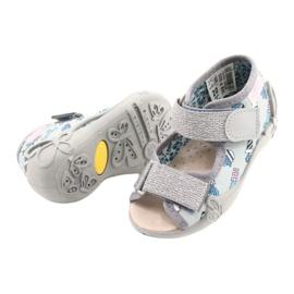 Befado gele kinderschoenen 342P025 blauw zilver grijs 3