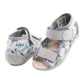 Befado gele kinderschoenen 342P025 blauw zilver grijs 4