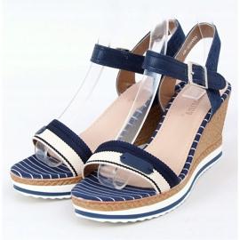 Marineblauwe sandalen met sleehakken A89832 Blauw 1