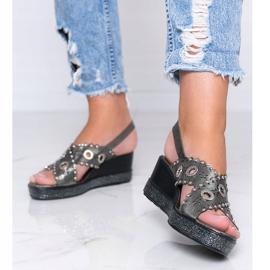 Grijze metallic sandalen met sleehak Mon grijs 1