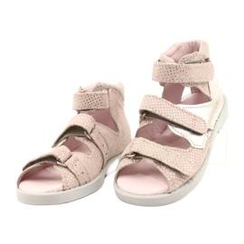 Hoge profylactische sandalen Mazurek 291 roze-zilver 1