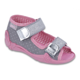 Befado kinderschoenen 242P082 roze zilver grijs 1