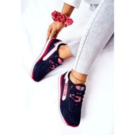 Leren sportschoenen Big Star II274270 Marineblauw wit rood 7