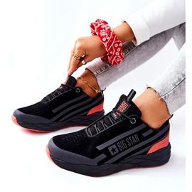 Leren sportschoenen Big Star II274460 Zwart rood 6